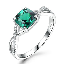 Load image into Gallery viewer, Emerald Gemstone Rings for Women Solid 925 Sterling Silver Ring Silver Wedding Engagement Band Romantic Fine Jewelry