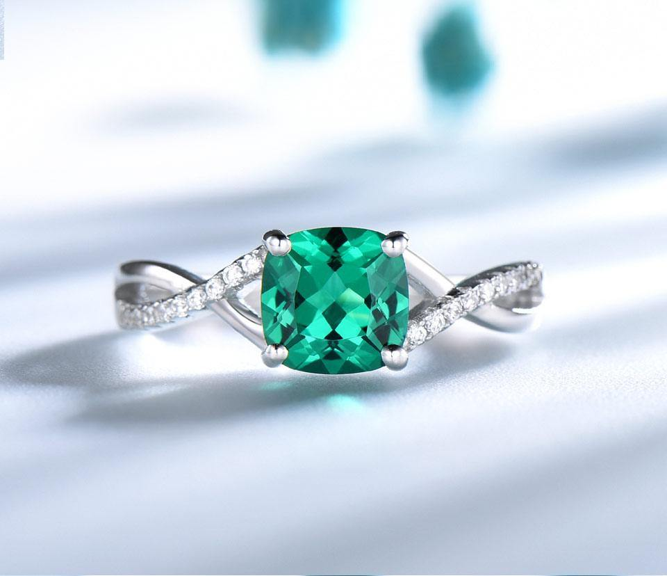 Emerald Gemstone Rings for Women Solid 925 Sterling Silver Ring Silver Wedding Engagement Band Romantic Fine Jewelry