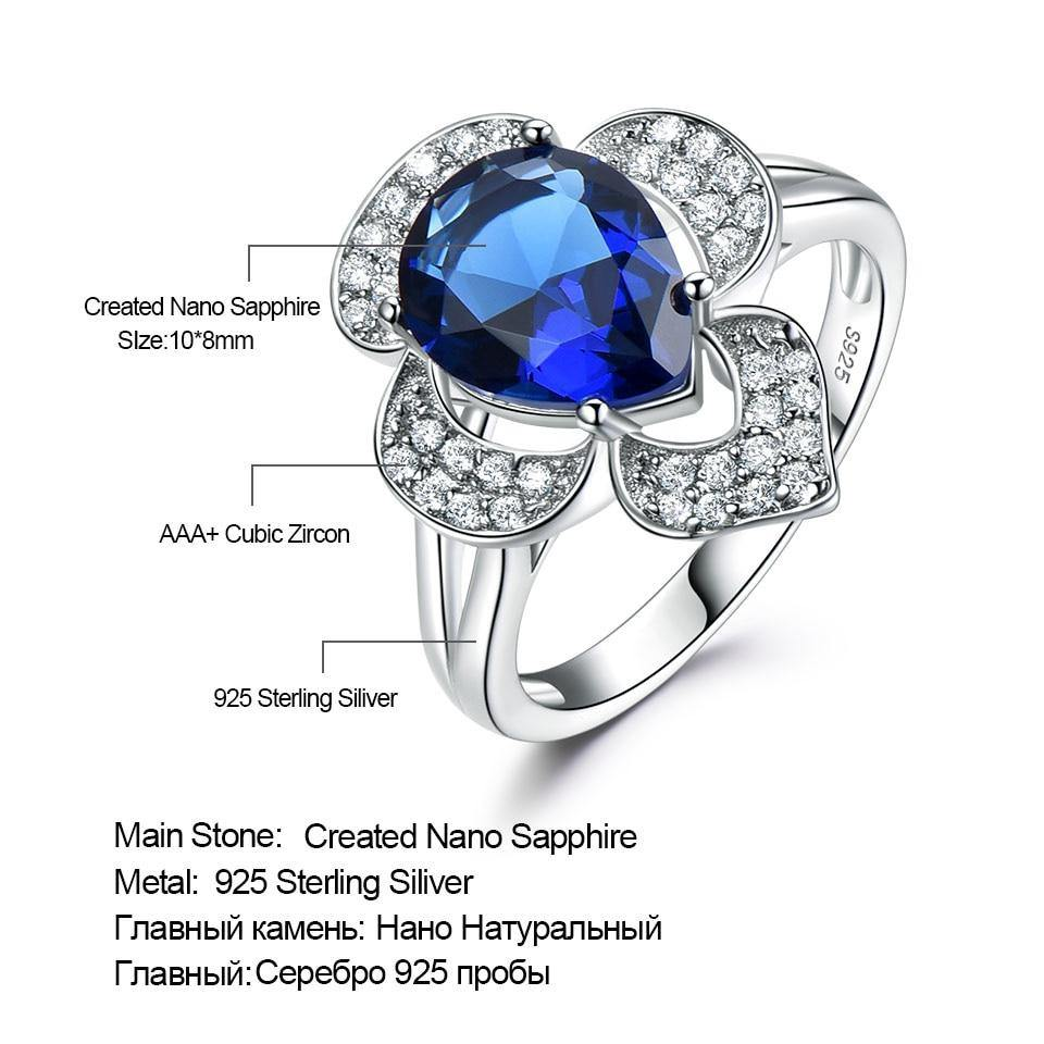 ab684b3393 ... Load image into Gallery viewer, Genuine 925 Sterling Silver Ring  Gemstone Blue Sapphire Rings for ...