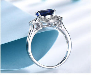Genuine 925 Sterling Silver Ring Gemstone Blue Sapphire Rings for Women Halo Party Wedding Engagement Jewelry