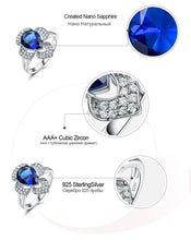 Load image into Gallery viewer, Genuine 925 Sterling Silver Ring Gemstone Blue Sapphire Rings for Women Halo Party Wedding Engagement Jewelry
