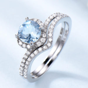 Sky Blue Topaz Rings For Women Solid 925 Sterling Silver Engagement Anniversary Band Ring Set Gemstone Valentine's Gift