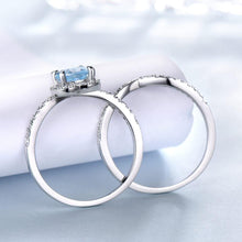 Load image into Gallery viewer, Sky Blue Topaz Rings For Women Solid 925 Sterling Silver Engagement Anniversary Band Ring Set Gemstone Valentine's Gift