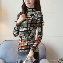 Load image into Gallery viewer, Women Print Shirts Blusa Feminina Korean Fashion Winter Long Sleeve Blouse Office Ladies Winter Basic Tops Plus Size