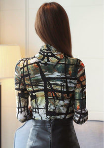 Women Print Shirts Blusa Feminina Korean Fashion Winter Long Sleeve Blouse Office Ladies Winter Basic Tops Plus Size
