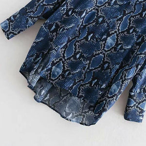 Snake Print Bow Tie Blouse Animal Pattern Patchwork Long Sleeve Split Shirts Vintage Womens Tops And Blouses