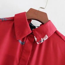 Load image into Gallery viewer, Spring Summer Red Long-Sleeved Floral Printed Blouse Turn Down Collar Womens Tops And Blouses Femme 2019 Shirts