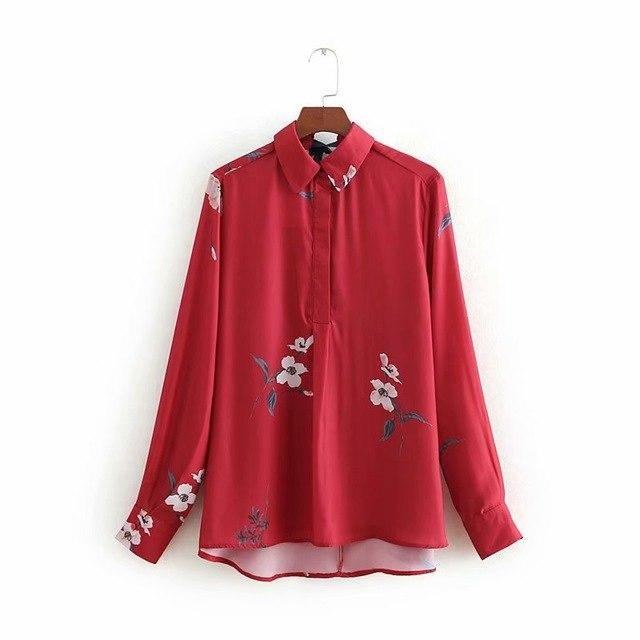 Spring Summer Red Long-Sleeved Floral Printed Blouse Turn Down Collar Womens Tops And Blouses Femme 2019 Shirts