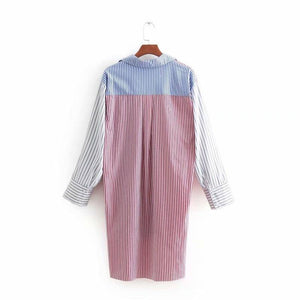 Casual Oversize Checkered Ladies Tops And Blouses Striped Women Blouses V Neck Turn Down Collar Loose Shirts