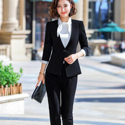 2 piece Sets Beige Pant Suits Women Elegant Business Work Wear Jacket with Trousers - moonaro