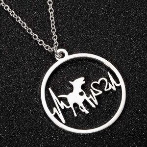 Stainless Steel Pet Necklace Dog New Fashion Dog Paw Pendant Necklace for Women Heart Jewelry ECG Doctor Gift