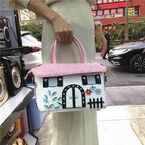 High quality ladies handbags fashion personality cartoon cute small house creative bag diagonal cross bag handbag casual bag