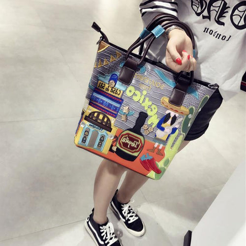 handbag retro crocodile pattern diagonal embroidered tide package creative embroidery large capacity bag