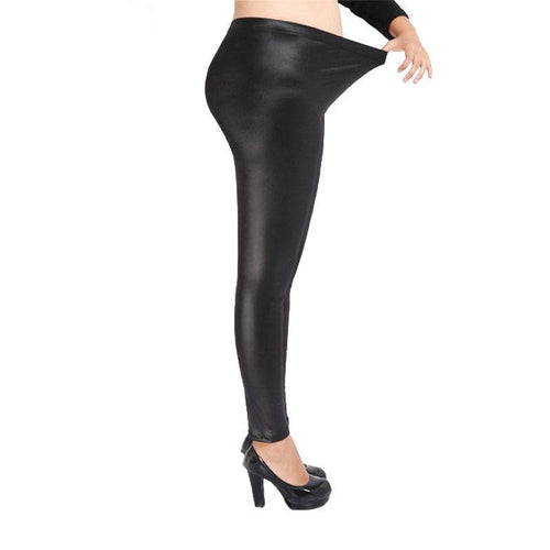 High Elastic Thin Faux Leather Leggings Large Size S-5XL Imitation Leather Pants Skinny Shiny Black Plus Leggings