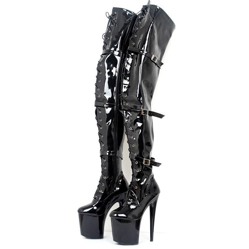High Heel Platform Boots Women 20cm Thin High Heels Sexy Party Pointed Toe Buckle Over-The-Knee High Heel Boot