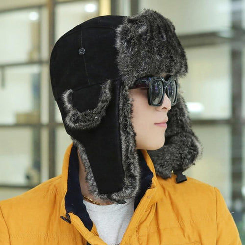 Men Winter Fur Hat Soft PU Leather Trapper Hats Caps Thick Warm Russian Ushanka Hats Winter Windproof Bomber Hat