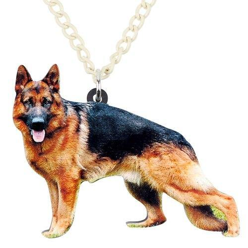 Acrylic German Shepherd Dog Necklace Pendant Chain Choker Animal Pet Jewelry For Women Girls Gift Charms Bijoux - moonaro