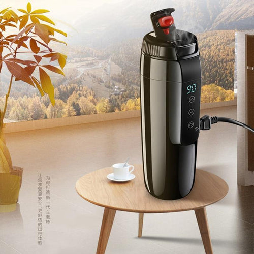 12V/24V Portable Car Heating Cup touch screen Adjustable Temperature Car Boiling Mug Electric Kettle Boiling Vehicle Thermos cup