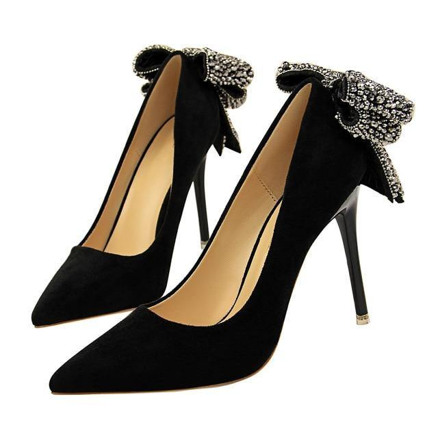 Thin High Heel Pumps Crystal Women High Heels Shallow Butterfly-knot Woman Sexy Party Wedding Ladies Shoes