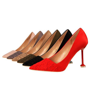 Pointed Toe Women Shoes Hoof Heels Shallow Pleated Women Pumps Women Shoes High Heel