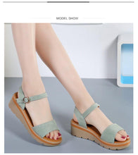 Load image into Gallery viewer, Flat Heel Soft Leather Casual Ankle Strap Woman Beach Sandals