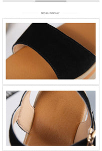Flat Heel Soft Leather Casual Ankle Strap Woman Beach Sandals