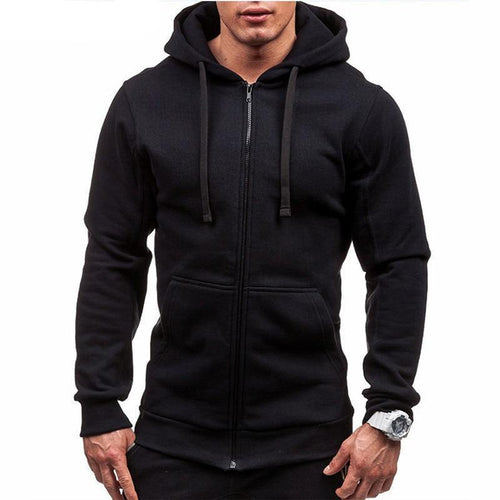 Zipper Hooded Sweatshirt Male Long Sleeve Pocket Pullover Autumn Hoodie Coat
