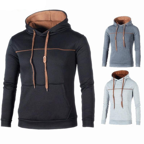 Sportswear Men Sweatshirt Striped Color Hip-Hop Male Casual Hooded Pullover Hoodie Coat