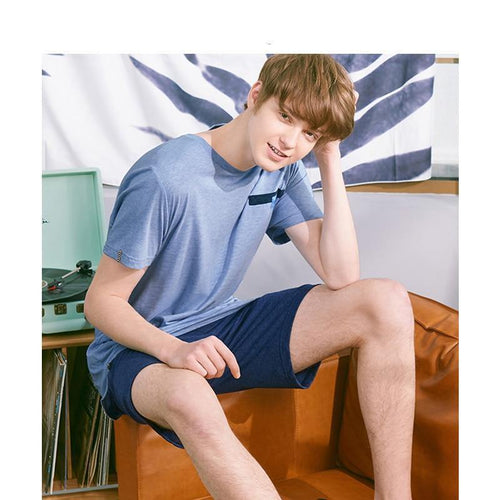 Casual Sleepwear Mens Short Sleeve Tops Tee Shirts & Shorts Pajamas Set