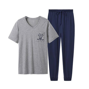 soft V-neck short-sleeved tops & trousers Sleepwear Men Home Clothes men pajama