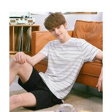 Load image into Gallery viewer, Men's Striped Pajamas Set Casual Homewear Cotton Shorts Tops Tee & Shorts