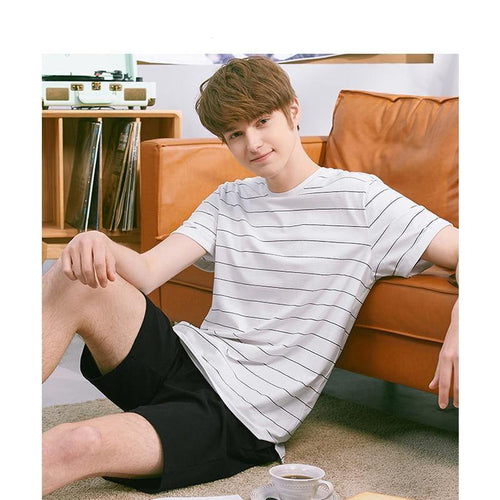 Men's Striped Pajamas Set Casual Homewear Cotton Shorts Tops Tee & Shorts