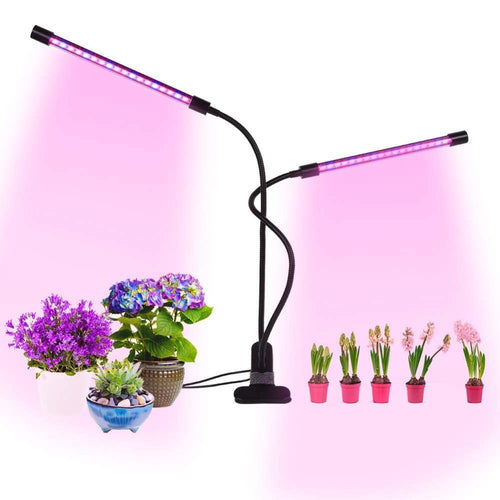 20W LED Grow Light Dual Head Plant Lamp with Timing Function 360 Degree Rotation Indoor flower seeds Greenhouse Growing Lamp - moonaro