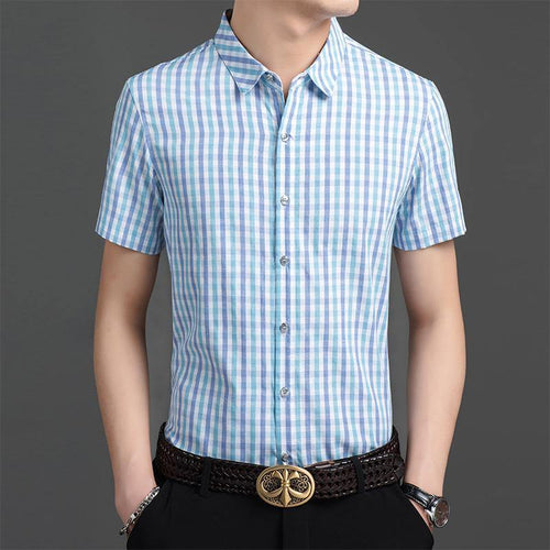 Fashion Shirt Plaid Summer Short Sleeve Regular Fit Button Up Casual Shirt