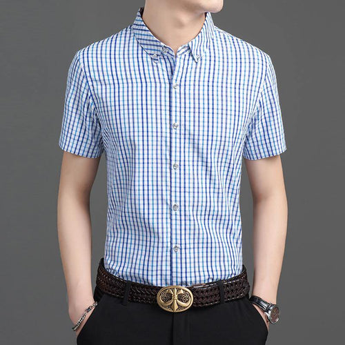 Fashion Plaid Button Up Summer Short Sleeve Slim Fit Dress Shirts Casual