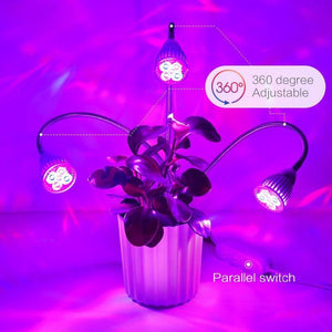 LED Grow Light 15W Plant Lamp 3 Head for Indoor Flower Greenhouse