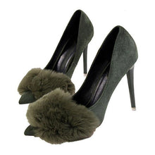 Load image into Gallery viewer, Woman Concise Sweet Fashion Women Fur Party Wedding Thin High Heel Pumps