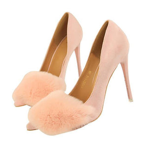 Woman Concise Sweet Fashion Women Fur Party Wedding Thin High Heel Pumps