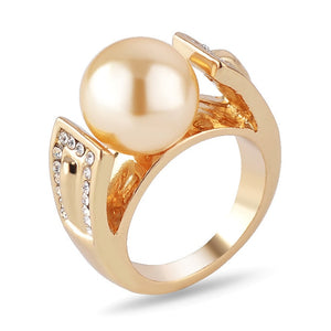 Women Gold Color Wedding Rings Female Anel Austrian Crystal Pearl
