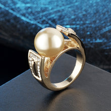 Load image into Gallery viewer, Women Gold Color Wedding Rings Female Anel Austrian Crystal Pearl