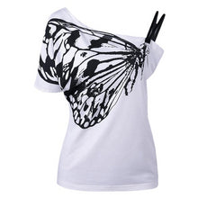 Load image into Gallery viewer, Sexy Ladies Oblique Shoulder T Shirt Butterfly Printed Strap Short Sleeve Women Tops Tees