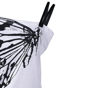 Sexy Ladies Oblique Shoulder T Shirt Butterfly Printed Strap Short Sleeve Women Tops Tees