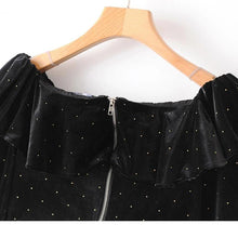 Load image into Gallery viewer, Velvet Crop Top Women's Off Shoulder Tops and Blouses Polka Dot Long Sleeve Blouse - moonaro