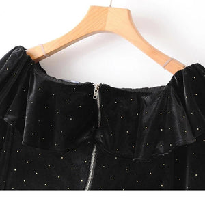 Velvet Crop Top Women's Off Shoulder Tops and Blouses Polka Dot Long Sleeve Blouse