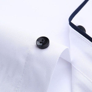 without chest pocket short sleeve men shirt fashion slim fit easy care black button square collar formal men's dress shirts