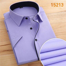 Load image into Gallery viewer, without chest pocket short sleeve men shirt fashion slim fit easy care black button square collar formal men's dress shirts