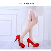 Load image into Gallery viewer, Wedding Crystal Rose Flower Shoes Bridal Party Red White Super High Heel Round Toe Shoes