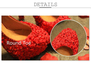 Wedding Crystal Rose Flower Shoes Bridal Party Red White Super High Heel Round Toe Shoes