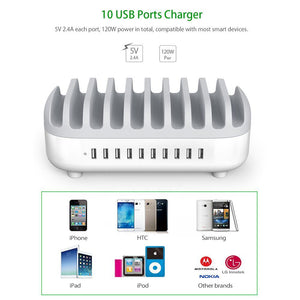 Desktop Multi USB Charging Station Dock with Phone Holder Organizer 10 Ports 2.4 A Fast Charging for iPad/iPhone/Xiaomi
