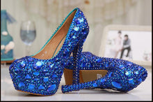 Load image into Gallery viewer, Wedding Blue Crystal High Heels Bride Lady Shoes Party Rhinestone Round Toe